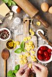 Raw italian pasta tortellini on wooden board. Raw italian pasta tortellini with ingredients on wooden board. Top view Royalty Free Stock Photo