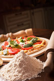 Raw Italian pizza with Stock Photography