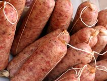 Raw Italian sausages from the butcher for sale Stock Photos