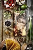 Spaghetti, Italian cuisine, cooking recipe, Italian pasta, ingredients Royalty Free Stock Photos