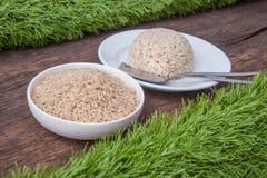 Raw jasmine brown rice Royalty Free Stock Image