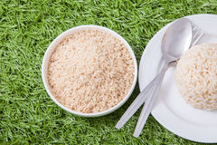 Raw jasmine brown rice Stock Photo