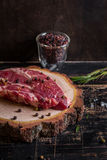 Raw juicy meat steak on dark wooden background ready to roasting Royalty Free Stock Images