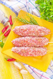 Raw kebab. With aroma spice Royalty Free Stock Photography