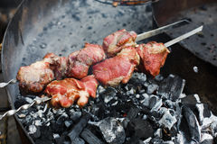 Raw kebab. Fresh meat at grill, barbecue Stock Photo