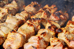 Raw kebab grilling on metal skewer. Raw meat roasting at barbecue. Stock Images