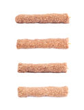 Raw kebab meat on a stick. Isolated over the white background, set of four different foreshortenings Royalty Free Stock Photography