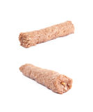 Raw kebab meat on a stick. Isolated over the white background, set of two different foreshortenings Royalty Free Stock Photos