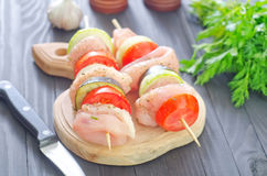 Raw kebab. From meat and vegetables Stock Image