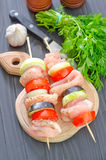 Raw kebab. From meat and vegetables Stock Photography