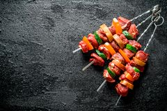 Raw kebab with vegetables royalty free stock image