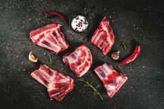 Raw lamb or beef ribs. Raw fresh meat, uncooked lamb or beef ribs with hot pepper, garlic and spices on dark stone background, copy space top view Stock Photo