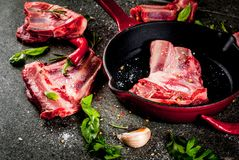 Raw lamb or beef ribs. Raw fresh meat, uncooked lamb or beef ribs with hot pepper, garlic and spices with frying pan skillet on dark stone background, copy space Stock Photos