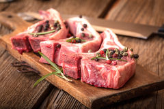 Raw lamb chop ready for frying. Royalty Free Stock Images