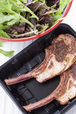 Raw lamb chop ready to cook in plastic tray Stock Photos