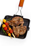 Raw Lamb Chops. With cherry tomato and rosemary herb. Selective focus Stock Images
