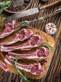 Raw lamb chops with garlic and herbs. stock images