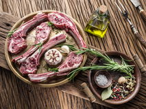 Raw lamb chops with garlic and herbs. royalty free stock photography