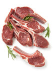 Raw Lamb Cutlets with Rosemary Isolated Stock Image