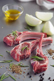 Raw lamb cutlets and spices Stock Photos