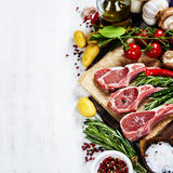 Raw lamb cutlets Stock Images