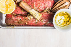 Raw Lamb fillet meat marinated for grill on cooking. Top view Royalty Free Stock Images