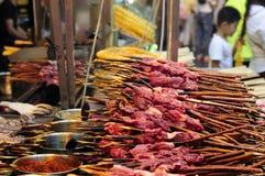 Raw Lamb kebabs Stock Photos