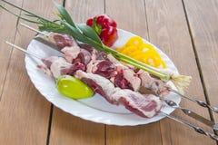 Raw lamb kebabs Royalty Free Stock Photo