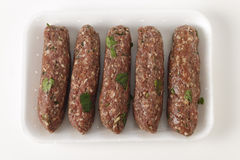 Raw lamb kofta in a tray Stock Image