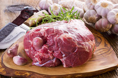 Raw Lamb Leg Stock Photo