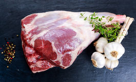 Raw lamb leg on blue stone background with herbs.  royalty free stock photo