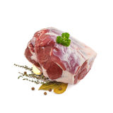 Raw lamb leg with bone, spices Royalty Free Stock Photo