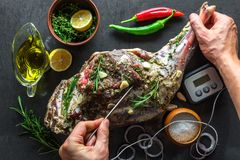 Raw lamb leg, marinated with herbs. Raw lamb leg, marinated with rosemary, olive oil, garlic and lemon. Baking with a temperature sensor. Food photography stock photos