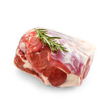 Raw lamb leg with rosemary twig Stock Image