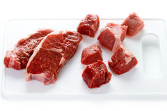 Raw lamb leg steaks and diced lamb Stock Photo