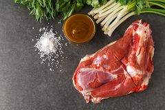 Raw lamb meat with spices on wood board over old wooden backgrou. Nd. Close up, selective focus Royalty Free Stock Images