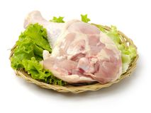 Raw chicken leg. Raw lamb meat  on white background Royalty Free Stock Photos