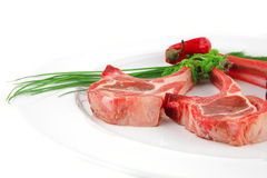 Raw lamb ribs Stock Photos