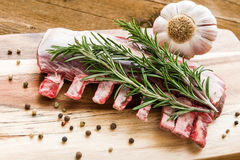 Raw lamb ribs with rosemary, pepper and garlic on wooden board Royalty Free Stock Images
