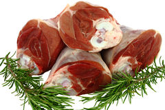 Raw Lamb Shanks ready for braising Stock Image