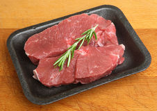 Raw Lamb Steaks Meat Pack Stock Photo