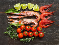 Raw langoustines and shrimps with vegetables Stock Images
