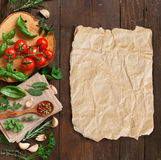 Raw lasagna pasta, vegetables and herbs Royalty Free Stock Photography