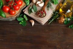 Raw lasagna pasta, vegetables and herbs Stock Photo