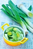 Raw leek. In bowl and on a table Stock Image
