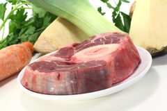 Raw leg slice with soup vegetables Stock Photos