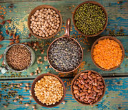 Raw legume on old rustic wooden table. Raw legume on old rustic wooden table, close-up Stock Photography