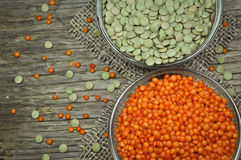 Raw lentils Stock Photo