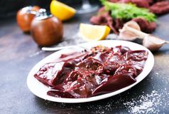 Raw liver. On plate,  and spice on a table Stock Photography