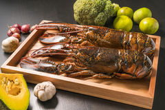 Raw lobster on wooden plate Royalty Free Stock Photos